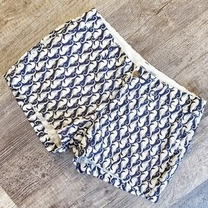 Blue and white print seahorse shorts